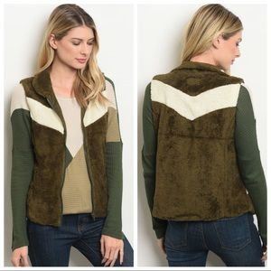 NEW Olive Green and Ivory fleece vest